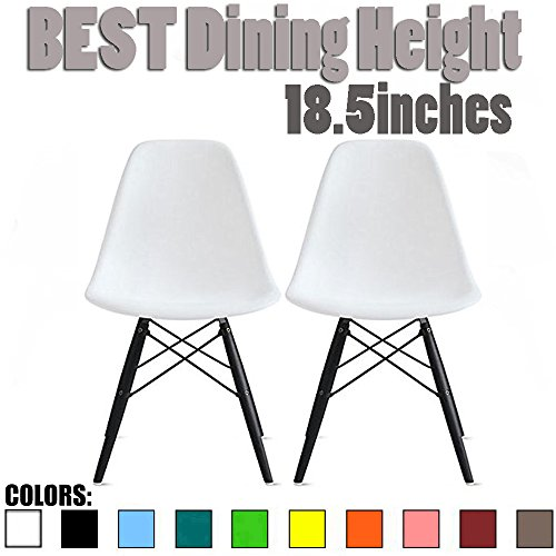 2xhome Set of Two 2 – Plastic Side Chair Black Wooden Legs Eiffel Dining Room Chairs No Arm Arms Armless Molded Plastic Seat Dowel Legs White