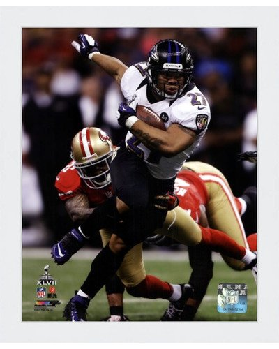(Poster Palooza Framed Ray Rice Super Bowl XLVII Action- 8x10 Inches - Art Print (Classic White Frame))