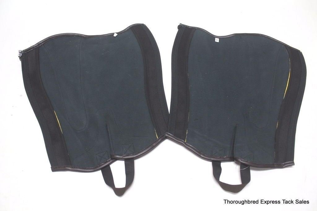 D.A. Brand Brown Leather Half Chaps Pearl Finished Insert Medium Horse Tack