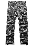 Jessie Kidden Men's Outdoor Casual Military Tactical Wild Combat Cargo Work Pants with 8 Pockets #7533,Grey Camo,36