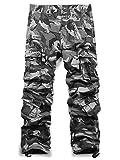 Jessie Kidden Men's Outdoor Casual Military Tactical Wild Combat Cargo Work Pants with 8 Pockets #7533,Grey Camo,42