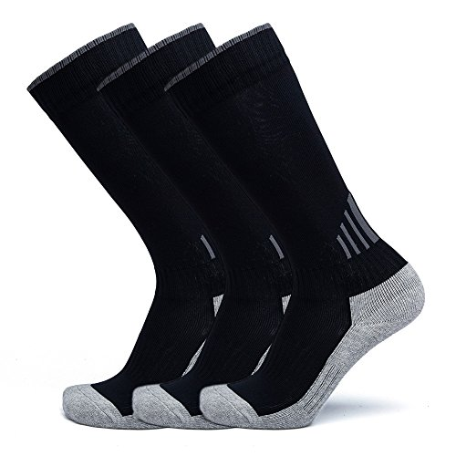Boys Girls Youth Knee High Cotton Soccer Football Socks, Parent-child Long Athletic Compression Socks(Black/Youth Shoes Szie 3Y-5Y,Women's Shoes Size 4-6) (Black Youth Footwear)