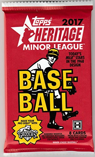 2017 Topps Heritage Minor League Baseball Unopened Pack of 8 Cards (Possible Autographs or Relic Cards)