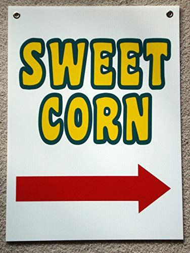 (Peter Select Sweet Corn Sign with Arrow Pointing Right 18'' x 24'' with Grommets 3! Funny Retro Vintage Business Nostalgic Signs)