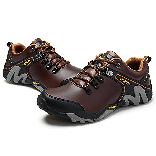 Leather Sport Shoes Brown GOMNEAR and Dark Shoes Trekking Hiking Outdoor Walking Men's xFpIq1O