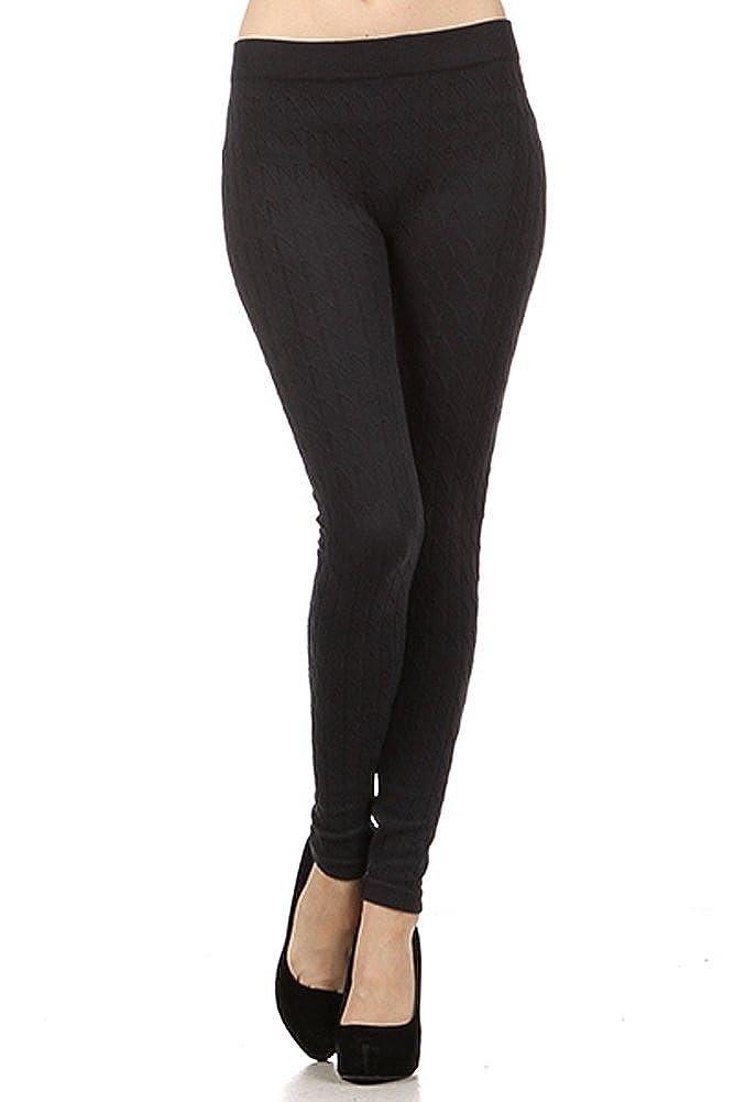 01ca5b23b23e23 Modern Kiwi Cable Knit Leggings Black One Size at Amazon Women's Clothing  store: Leggings Pants