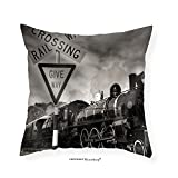 VROSELV Custom Cotton Linen Pillowcase Old Fashioned Steam Locomotive Kingston New Zealand - Fabric Home Decor 26''x26''