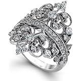925 Silver Ring White Topaz Vintage Bone Men Women Wedding Engagement Size 6-10 (7)