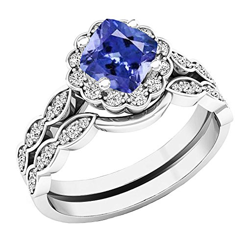 (Dazzlingrock Collection 14K 5.5 MM Cushion Tanzanite & Round Diamond Ladies Halo Engagement Ring Set, White Gold, Size 4)