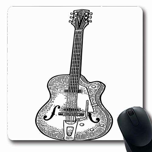 Ahawoso Mousepad Oblong 7.9x9.8 Inches Drawn Woodcut Six String Semi Acoustic Guitar Music Vintage Antique Black Classic Classical Design Office Computer Laptop Notebook Mouse Pad,Non-Slip Rubber ()