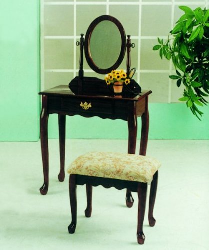 Roundhill Furniture Queen Anne Style Wood Makeup Vanity with Mirror and Bench, Cherry Finish Cherry Heirloom Vanity