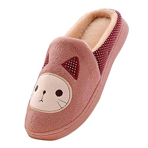 Scarpe Autunno Pantofole Inverno Felpa Ragazze Cartoon Di Morbido Minetom Donne Gatto Rosa Cotone Bwq41A