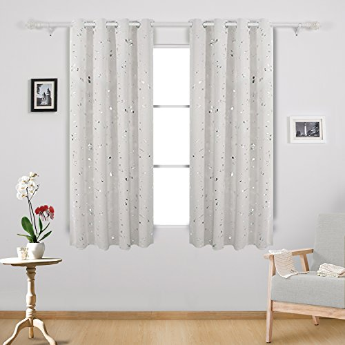Deconovo Silver Dots Printed Blackout Grommet Curtains Room Darkening Cream Curtains for Kids Room Cream 52W x 63L 2 Panels Review