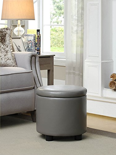 Ottoman Round Storage Tray (Convenience Concepts Designs4Comfort Round Accent Storage Ottoman, Gray)