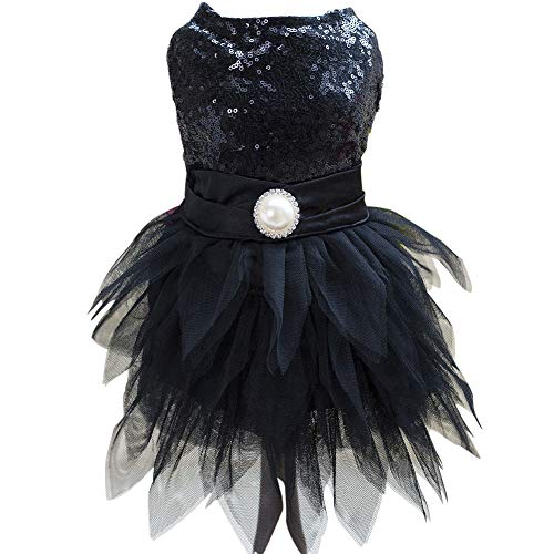 Tangpanl Beam Waist Christmas Pet Costume Dog Dance Skirt Satin Camp Party Dress(Black,M) -