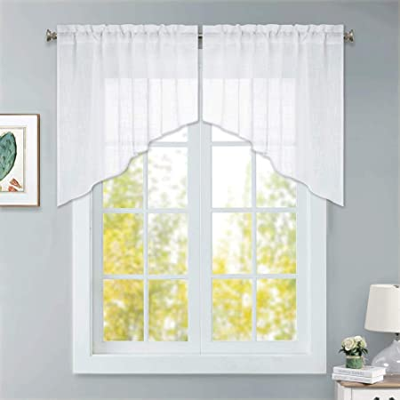 RYB HOME Window Topper Curtains - Short Kitchen Curtains and Valances Set,  Privacy White Linen Sheer Swag Curtains, Semi Sheer Bathroom Curtains Tiers  ...