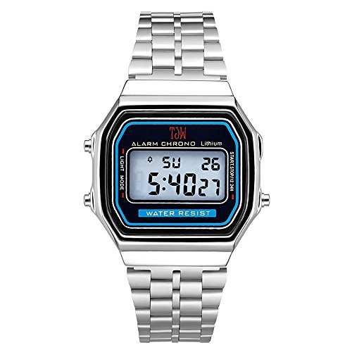 TJW Daily Alarm Digital Watch - Unisex Bracelet Watch - Silver Stainless-Steel Quartz Watch ()