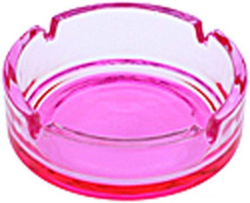 Posacenere in vetro con fondo rosa 4 x 10 cm ca