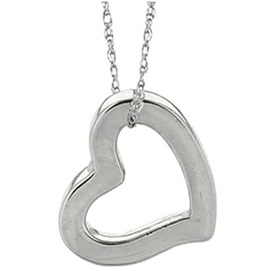 Amazon 14k white gold open heart pendant necklace on a 18 14k white gold open heart pendant necklace on a 18 inch chain aloadofball Gallery