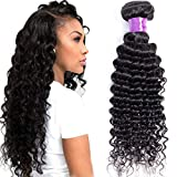 Misoun Hair Brazilian Virgin Hair Deep Wave Hair One Bundle 28inch 100% Unprocessed Virgin Human Hair Extension Weave Weft Natural Black Color (100+/-5g)/bundle Can be Dyed and Bleached
