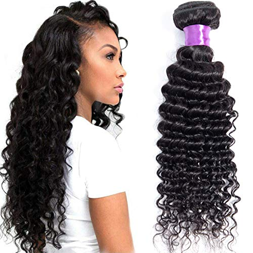 Misoun Hair Brazilian Virgin Hair Deep Wave Hair One Bundle 10inch 100% Unprocessed Virgin Human Hair Extension Weave Weft Natural Color (100+/-5g)/bundle Can be Dyed and Bleached ()