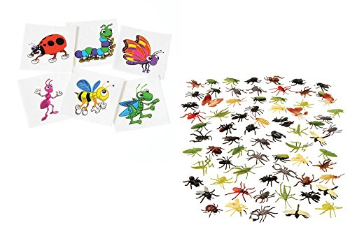 Kid Fun Assorted Insects & Temporary Tattoo Toy Party Favor Supplies216 Pieces Set for 12 Bundle by Kid Fun