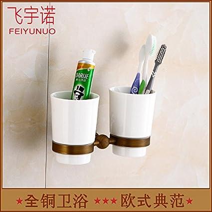 Porta Cepillo de Dientes contemporáneo Porta Cepillo de Dientes de baño de pared con ventosa vasos