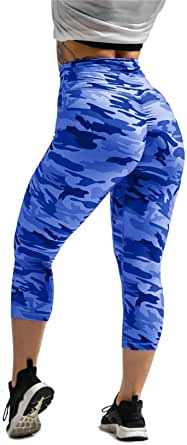 Wudia Women's Scrunch Booty Camouflage Printed Workout Leggings High Waisted Butt Lifting Yoga Running Gym Capri Pants