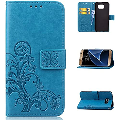 AMCHOICE(TM) Galaxy S7 Edge Case,S7 Edge Case,PU Leather Wallet Lucky Clover Pattern Stand Card Slots Case For Sales