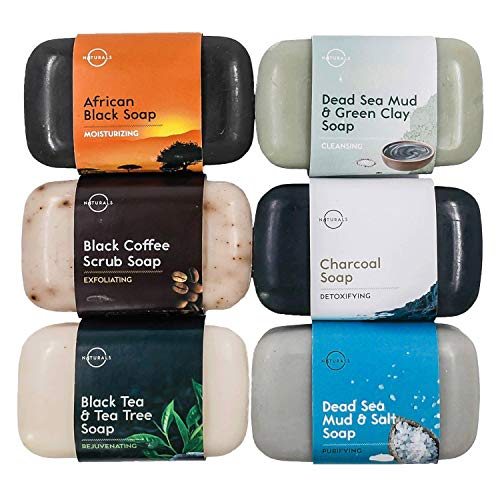 O Naturals 6-Piece Black Soap Bar Collection. 100% Natural. Organic Ingredients. Helps Treat Acne, Repairs Skin, Moisturizes, Deep Cleanse, Luxurious. Face & Body Women & Men. Triple Milled, Vegan 4oz (Oils Soap Essential Bar Nature)