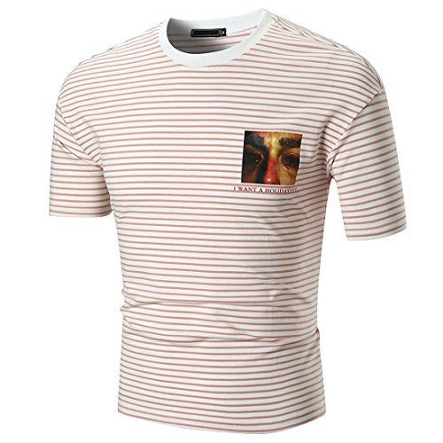 Bluestercool Hommes T-shirt Casual Rayé Manches Courtes Col Rond Top I Want A Holiday Imprimé Hauts Rouge