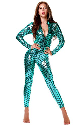 Nihoe Sexy Fish Scale Mermaid Bodysuit Women Long Sleeve Costumes (OneSize, Peacock) (Sexy Peacock Costume)