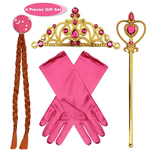 fedio Girls Princess Dress up Accessories 4 Pieces Gift Set Princess Gloves, Hair Braid, Tiara Crown and Wand for Kids (Pink Princess Wand)