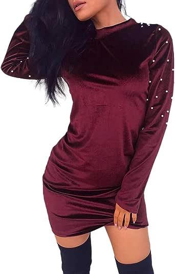Mujer Elegante Vestido Corto Y Delgado Vestido Ajustado de Terciopelo con Perla Camisa de Algodón de Manga Larga Ropa Acogedora Primavera Invierno Jersey Rojo Vino Negro Traje de Fiesta Cainival: Amazon.es: Ropa