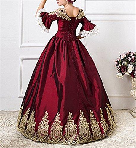 Femmes Jupon Avec Nuoqi Carnaval Vêtements Vin Victorienne Robe Rouge Medieval aqqA1