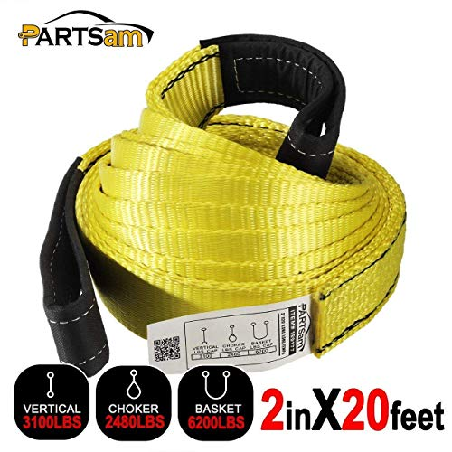 Premium 2 Pcs Crane Towing Strap 20feet x 2inch Durable 3400Dtex - Heavy Duty Web Sling - Corrosion Resistance Polyester Industrial Flat Eye-Eye - Web Polyester Inch 2