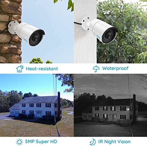 Reolink 5MP PoE Camera (Pack of 2) Outdoor Indoor Video Surveillance Work with Google Assistant, IP Security IR Night Vision Motion Detection Sound Support SD Card Slot RLC-410-5MP