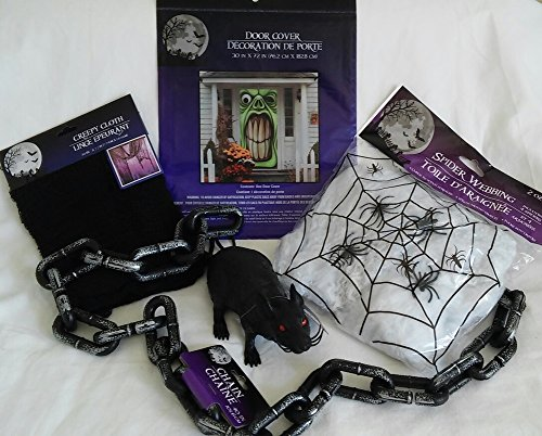 Halloween Haunted House Decoration Pack Green Goblin Door Cover; Red-Eyed Squeaky Rat; 40 in Plastic Chain; Stretchy Spider Web & 4 Spiders, Large Black Creepy Cloth (30 in x 72 in),(5-Item Bundle) (Halloween Door Cover Ideas)