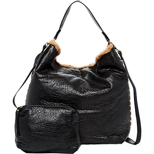 Urban Expressions Womens Vegas Vegan Leather Faux Fur Hobo Handbag Black Large (Bag Hobo Faux Fur)