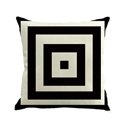 Prima05Sally Negro Blanco Geometría Raya Decorativa Throw ...