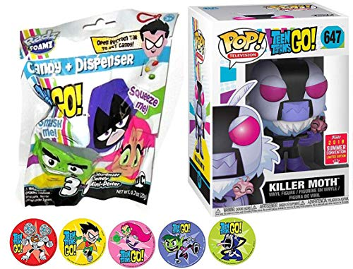 Funko Foam GO Movies DC Teen Titans Killer Moth Character Exclusive Figure Vinyl Pop! Bundled with Blind Bag Candy Foamz Figure Head Cartoon Toy Super Action Stickers! Starfire / Beastboy & Cyborg