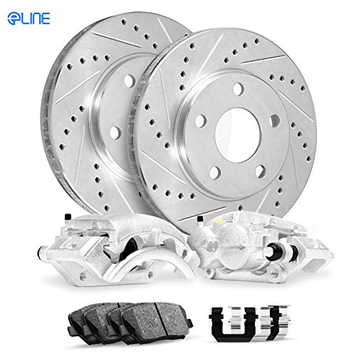 (For 2004 Infiniti QX56 Front Calipers+Drill Slot Brake Rotors+Pads+Hardware)