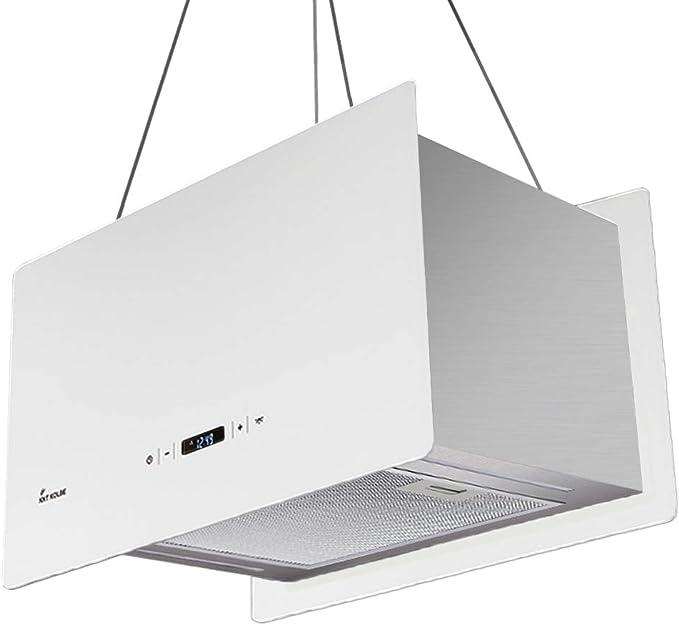 Campana extractora de diseño en isla (60 cm, acero inoxidable, cristal blanco, extra silenciosa, 674m³/h, 4 escalones, iluminación LED, teclas de sensor TouchSelect) CUBE60W - KKT KOLBE: Amazon.es: Hogar