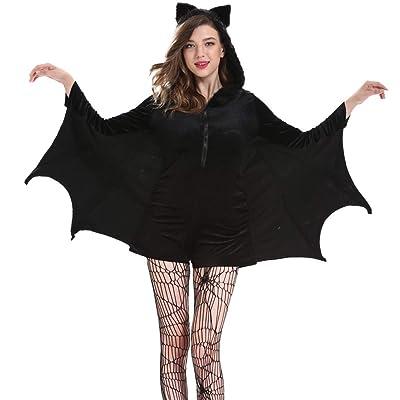 ღLILICATღ Halloween Bruja Disfraz para Mujer Murciélago de Halloween Negro Ronda Cuello Manga Larga Pecho Zip Hoodie Vestido de Traje: Deportes y aire libre