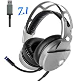 Gaming Headset with Mic for PC Mac Laptop Tablet, USB Stereo Over Ear Wired 7.1 Virtual Surround Sound Computer Headphones, Noise Canceling Volume Control Enhanced Bass with LED Light (Silver)