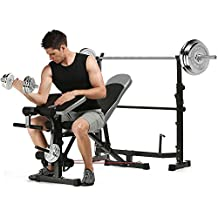 Hindom Multifunctional Adjustable Olympic Weight Bench, Heavy Duty Flat Training Bench with Preacher Curl/ Leg Developer for Lifting and Ab Workout (US STOCK)