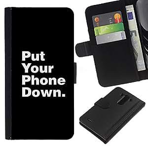 iBinBang / Flip Funda de Cuero Case Cover - Phone Down Life Focus Quote - LG Optimus G3