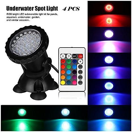 Petacc 4 en 1 Juego de luces LED para acuario Lámpara de pie Pecera Lámpara sumergible