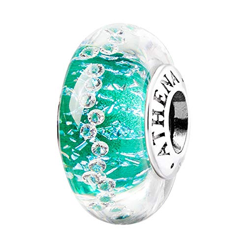 ATHENAIE Murano Glass 925 Silver Core Green Shimmer Multi-Clear CZ Charm Beads Color Green