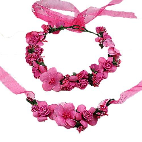 Coolwife Flower Crown Wedding Hair Wreath Floral Headband Garland Wrist Band Set (Rose ()